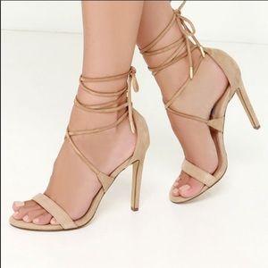 Steve Madden President Ankle wrap tan heels suede